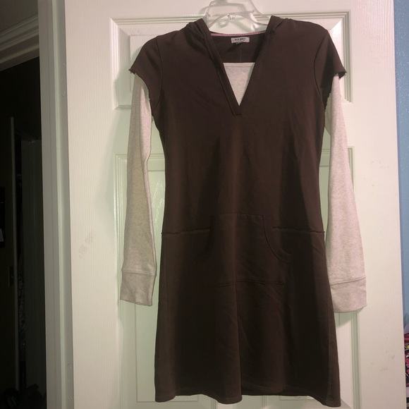 Old Navy Girls Brown hooded dress longsleeves